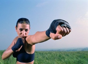Woman in Kickboxing Pose